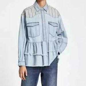 Zara Basic Denim Chambray Shirt L Ruffle Hem